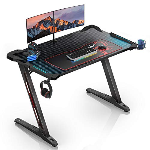 EUREKA ERGONOMIC Gaming Tisch Z1 S Gaming Gaming Computertisch PC Gamer mit Blau LED Beleuchtung Getränkehalter und Kopfhörerhalter Schwarz