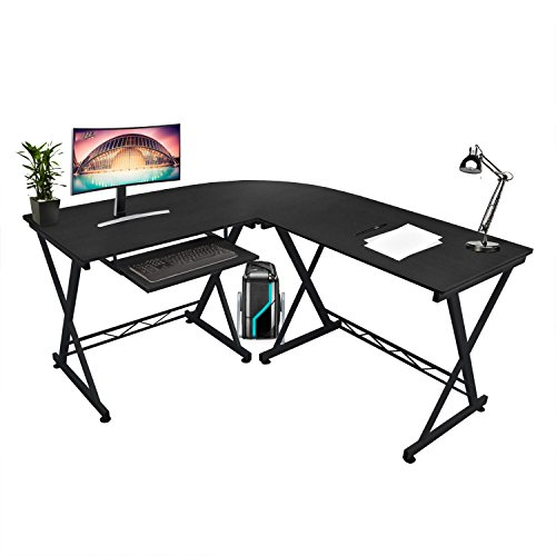 Kendan Alicorn Schwarz Großer Eck L Form Computer Schreibtisch Workstation  Für Home U0026 Office