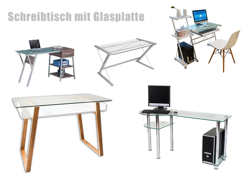 schreibtisch mit glasplatte. Black Bedroom Furniture Sets. Home Design Ideas