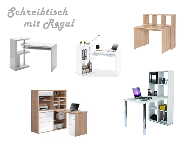 praktischer schreibtisch mit regal. Black Bedroom Furniture Sets. Home Design Ideas